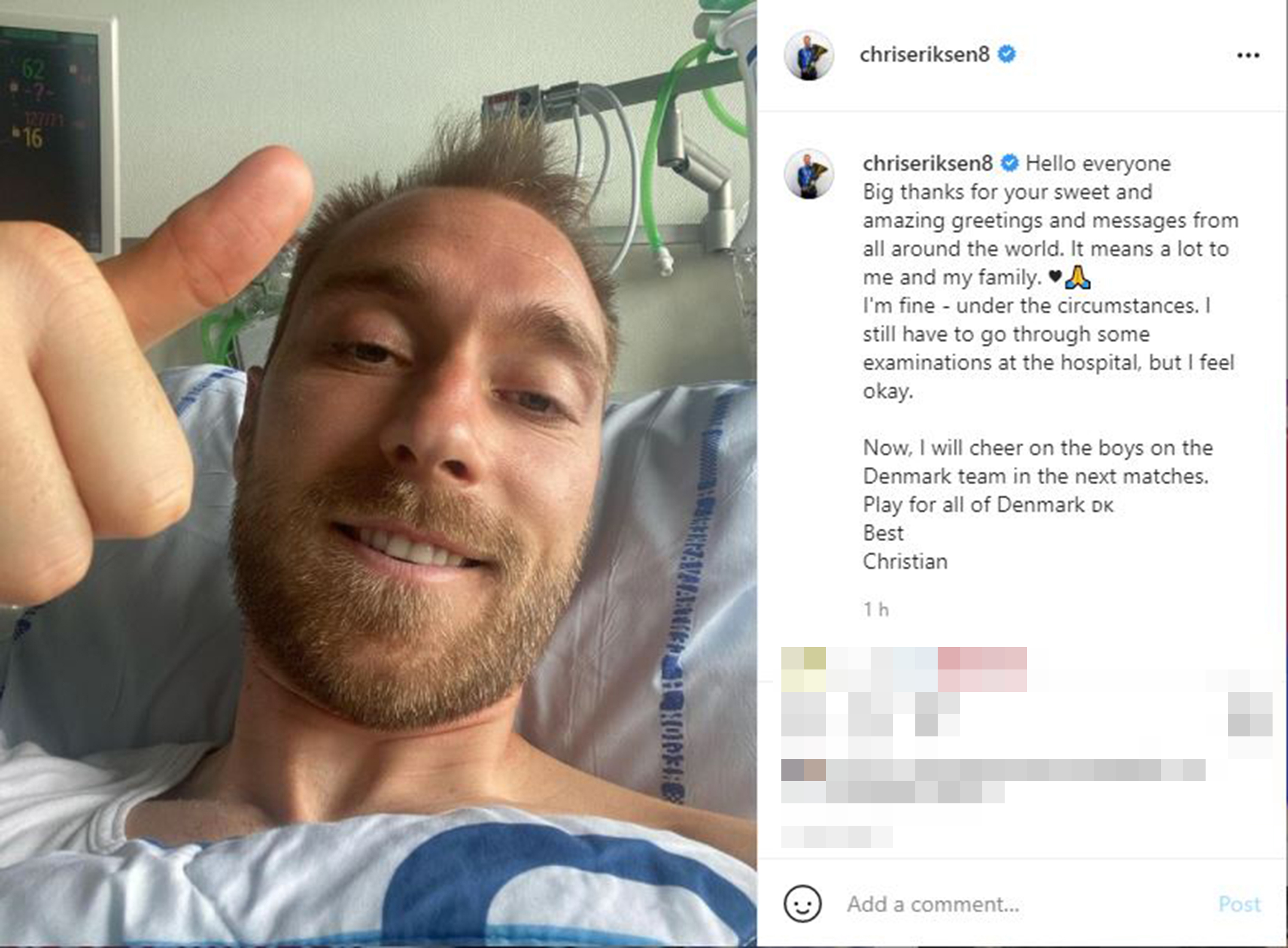 Christian Eriksen (Copyright holder: PA PICTURE DESK Copyright notice: PA Media Usage terms: Picture by: Christian Eriksen/Instagram)
