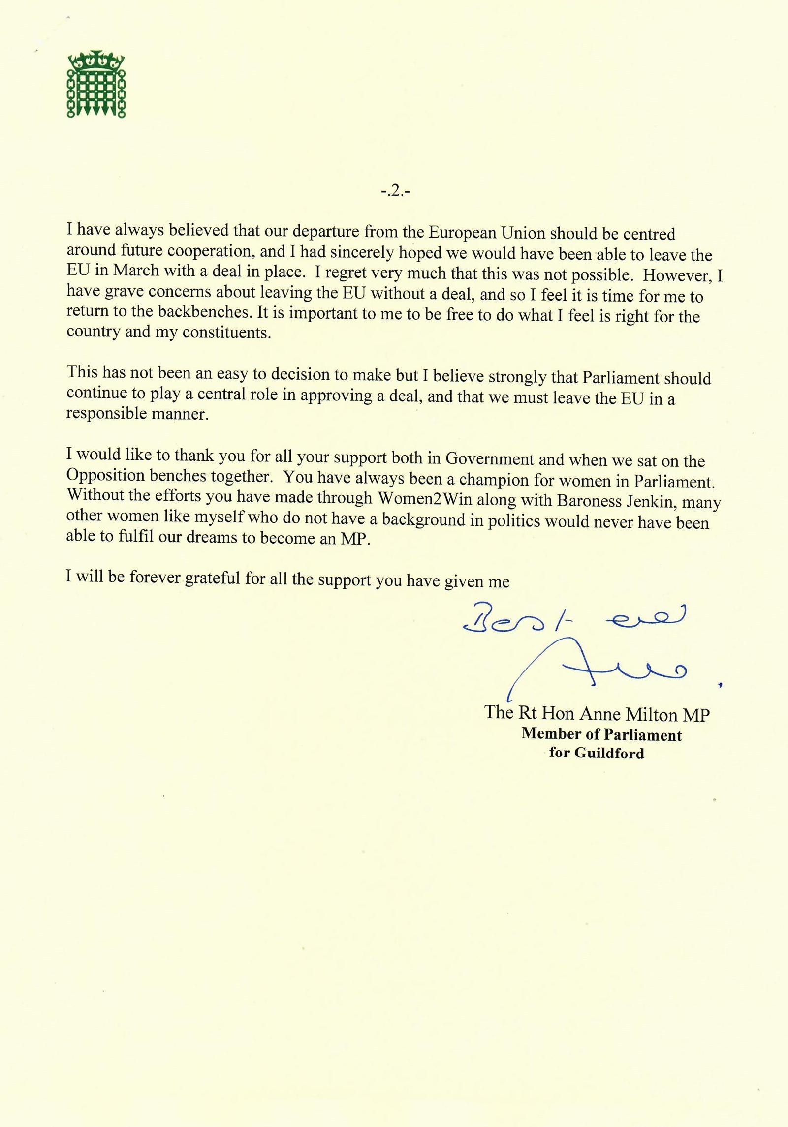 Anne Milton resignation