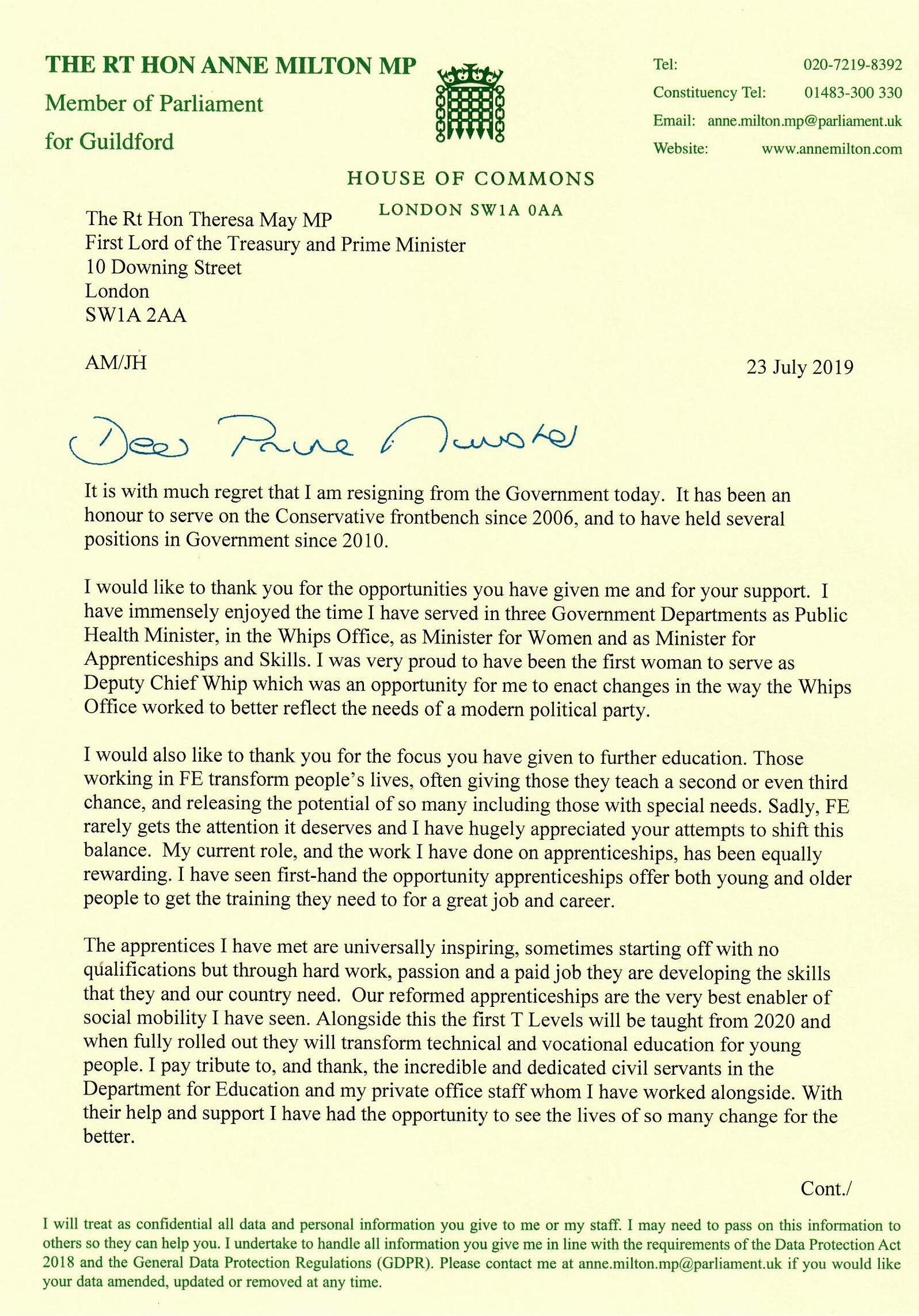 Milton resignation letter