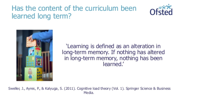 Ofsted slide on curriculum