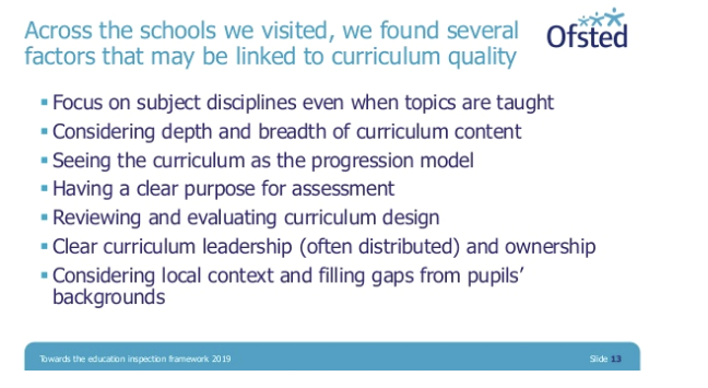 Ofsted slide on curriculum inspection