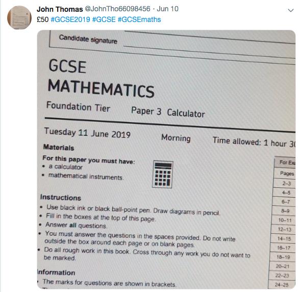 Fraudulent tweet GCSE maths