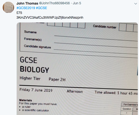 Fraudulent tweet GCSE biology