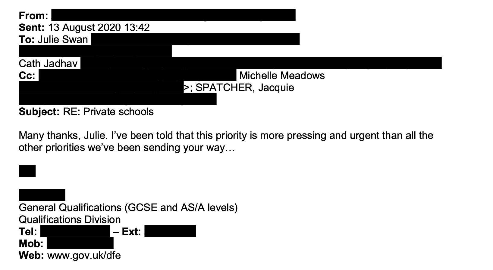 Tes has obtained correspondence between the DfE and Ofqual on results day.