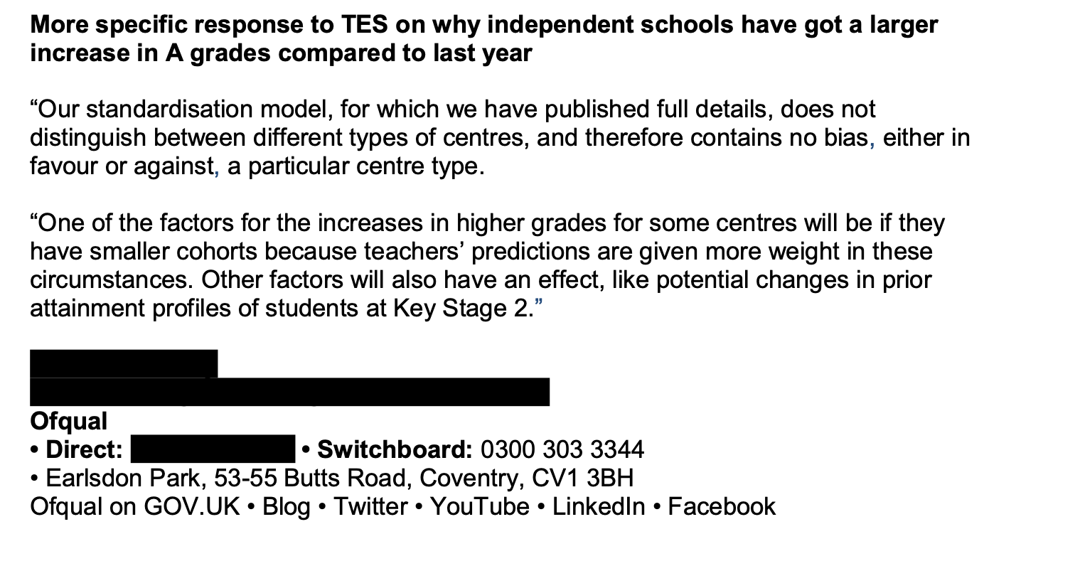 Tes has obtained correspondence between the DfE and Ofqual on A-level results day.