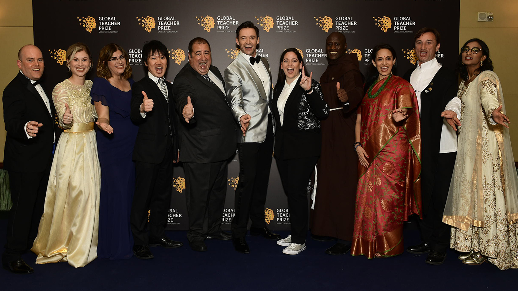Andrew Moffat with Hugh Jackman and other Global Teacher Prize finalists.