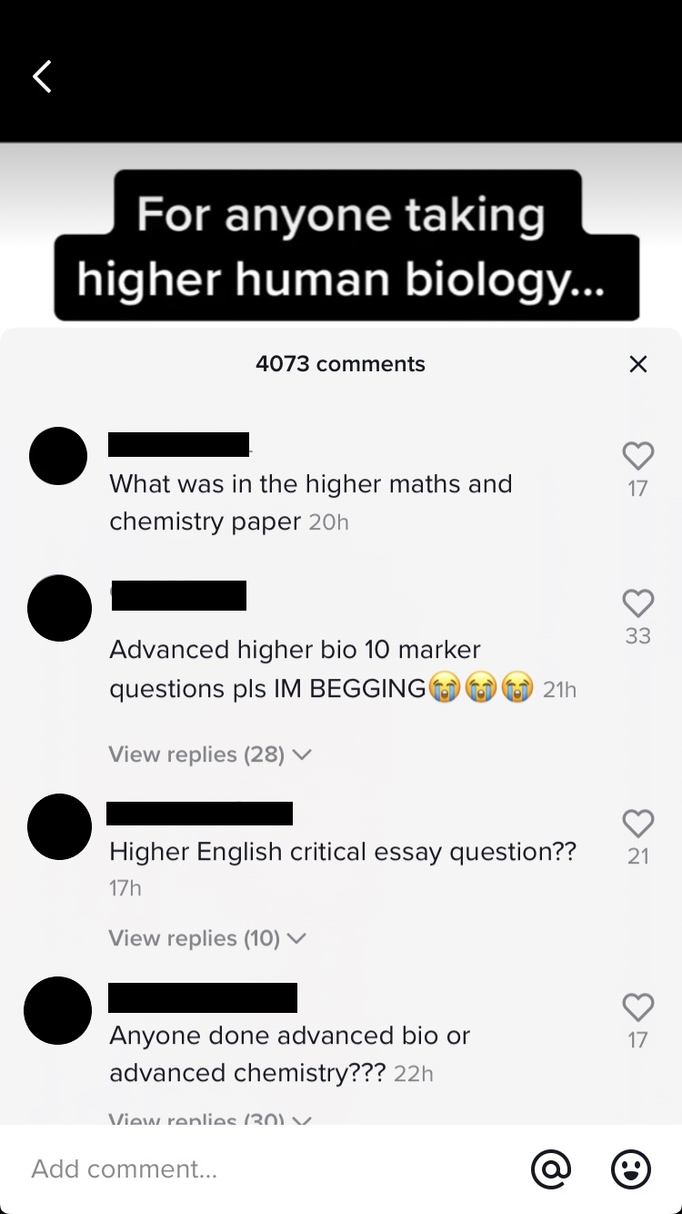 Exam questions shared on TikTok 'SQA black market'