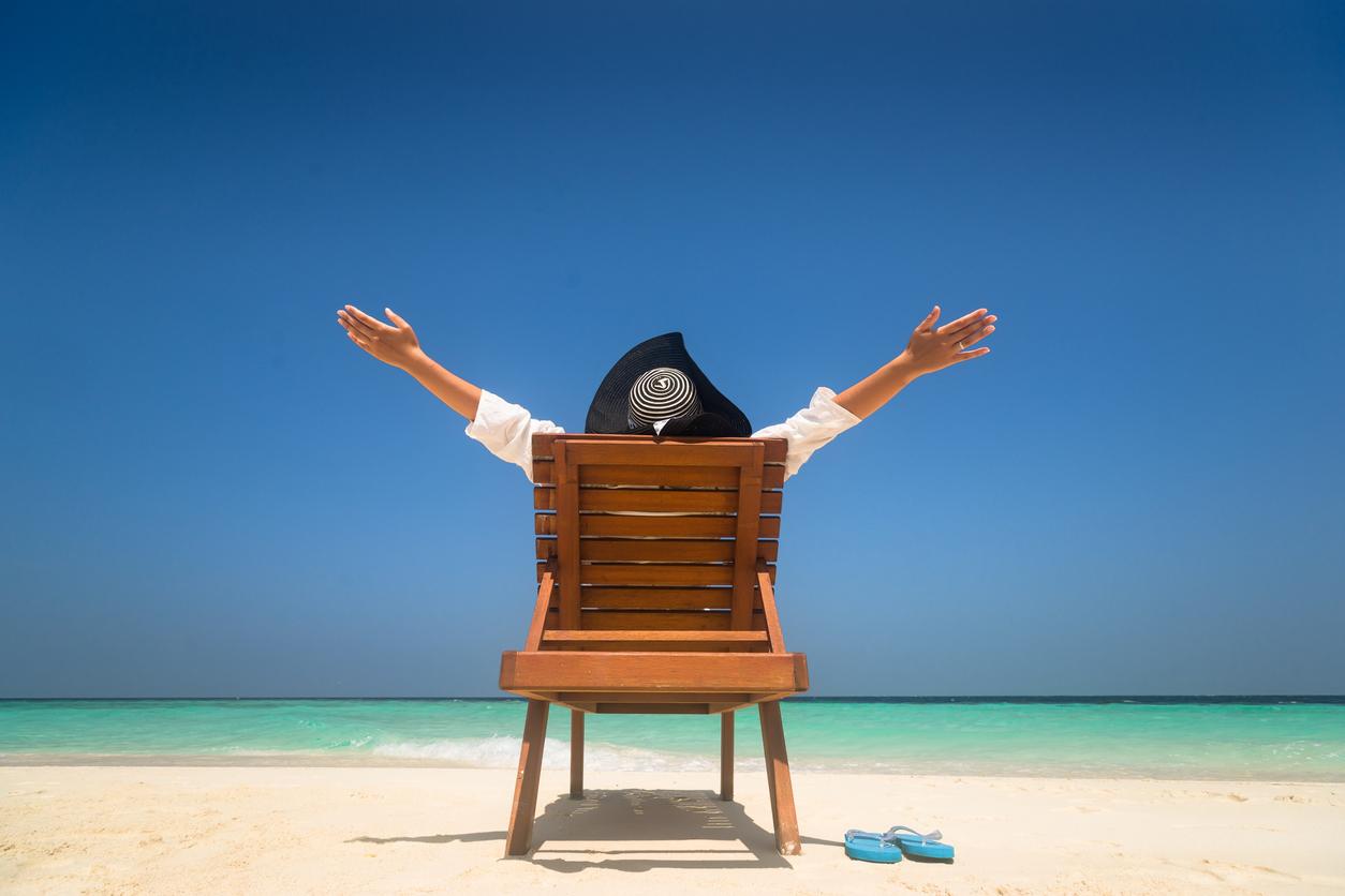 Woman on sun lounger