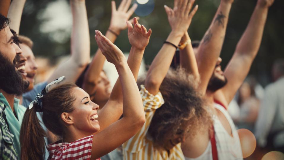 Thank a teacher day: A crowd of applauding fans