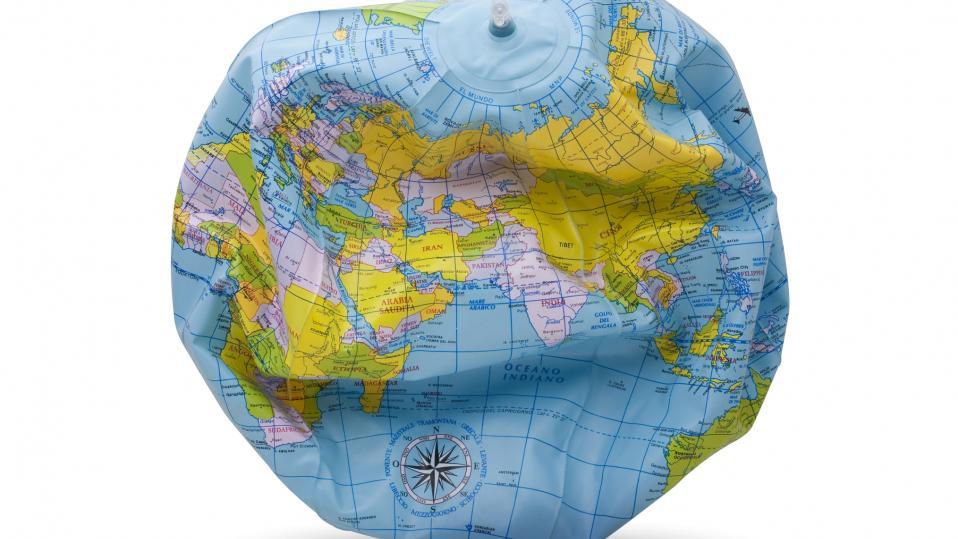 Geography GCSE 2022: Blow-up globe, deflating