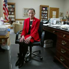 Ruth Bader Ginsburg, sitting in her office