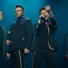 Picture of Westlife, with Michael Gove and Gavin Williamson replacing two of the band members