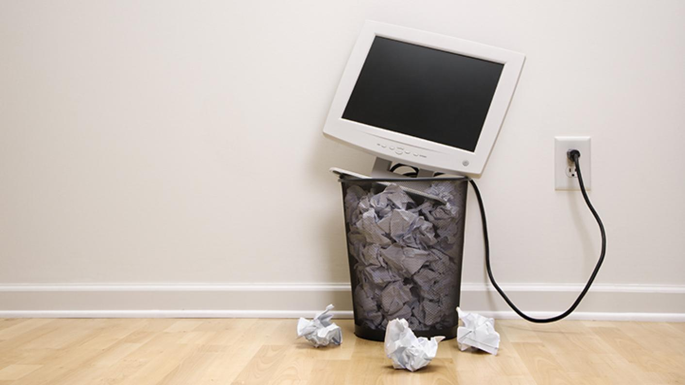 Computer Monitor In Waste Paper Bin Surrounded By Crumpled Up Paper & Teacher Training Personal Statement Attempts