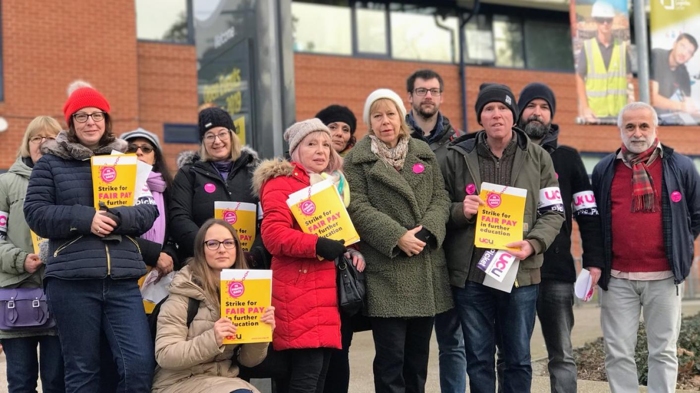 Staff at colleges across England have walked out on strike as part of University and College Union (UCU) strikes over pay