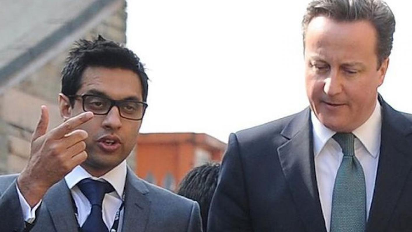 Sajid Hussain Raza, the free school founder sentenced to five years for defrauding the Department for Education, with David Cameron in 2012