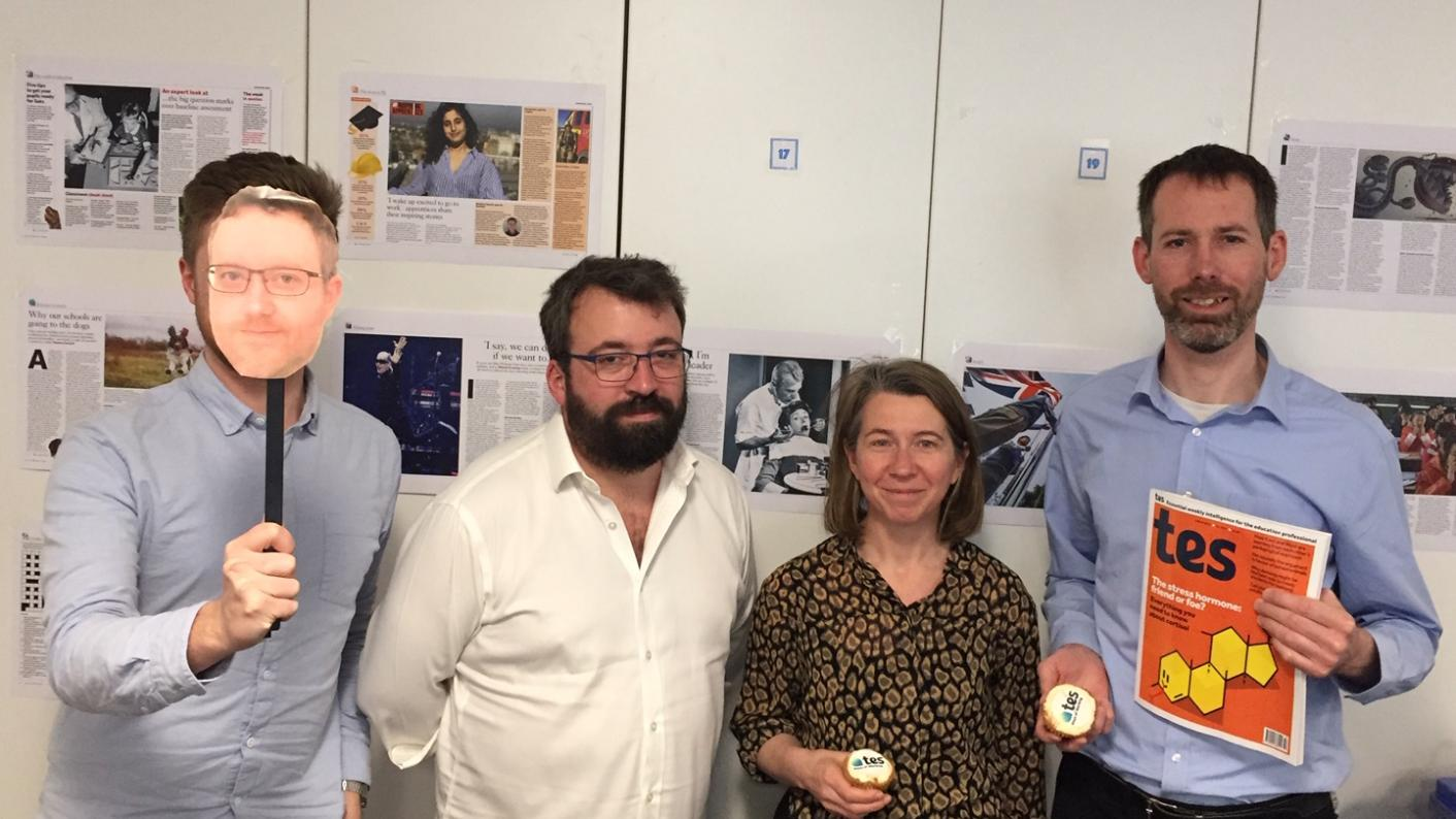 The Tes podcast: left to right, John Roberts, Ed Dorrell, Helen Ward and Martin George.