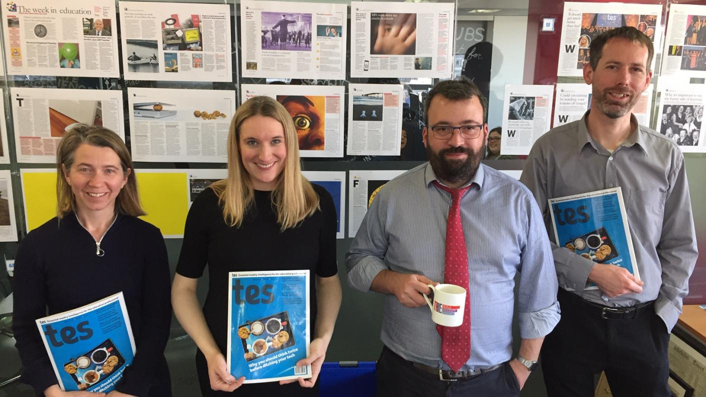 The Tes Podcast: In ascending order of height, Helen Ward Helen Amass, Ed Dorrell and Martin George.