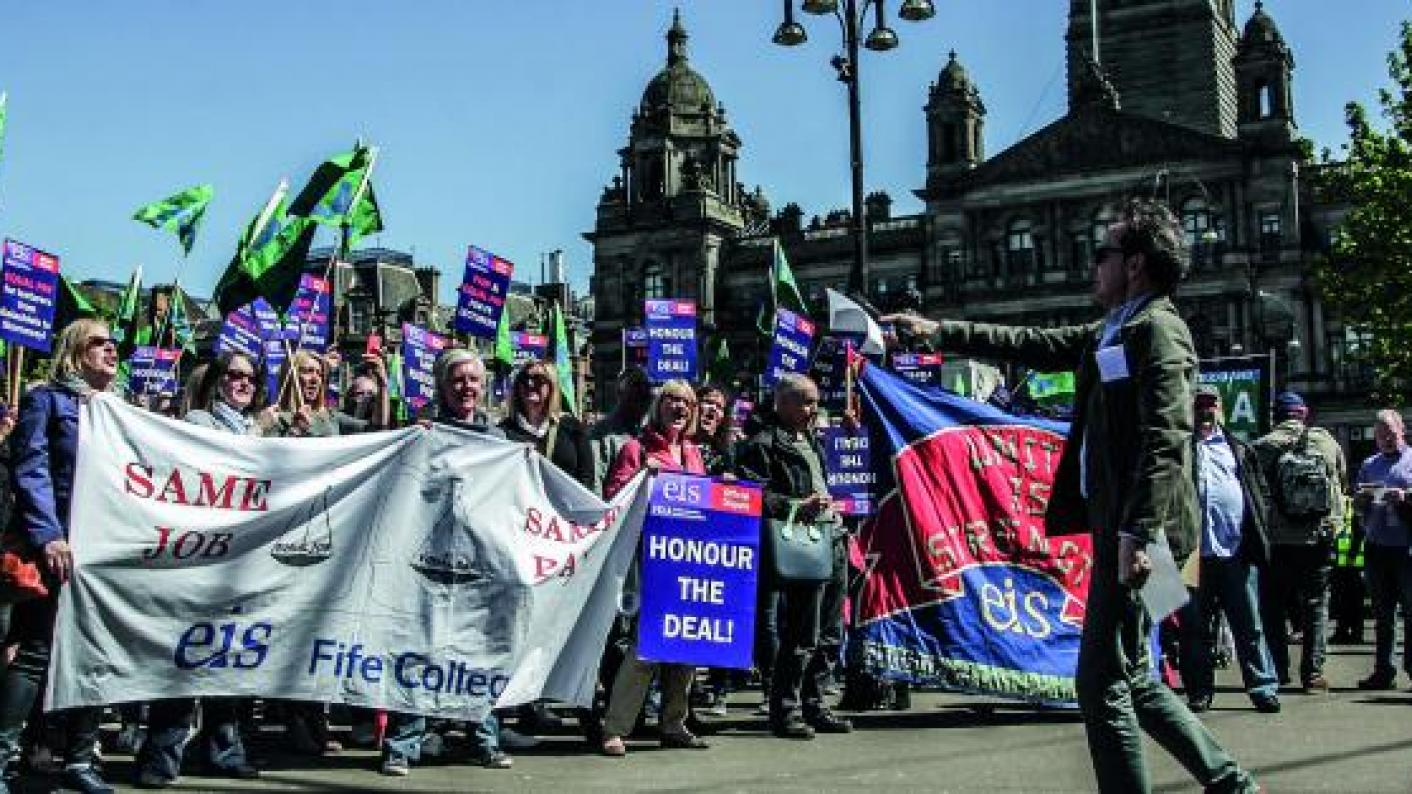 assessment scotland colleges FE strike action pay salaries union