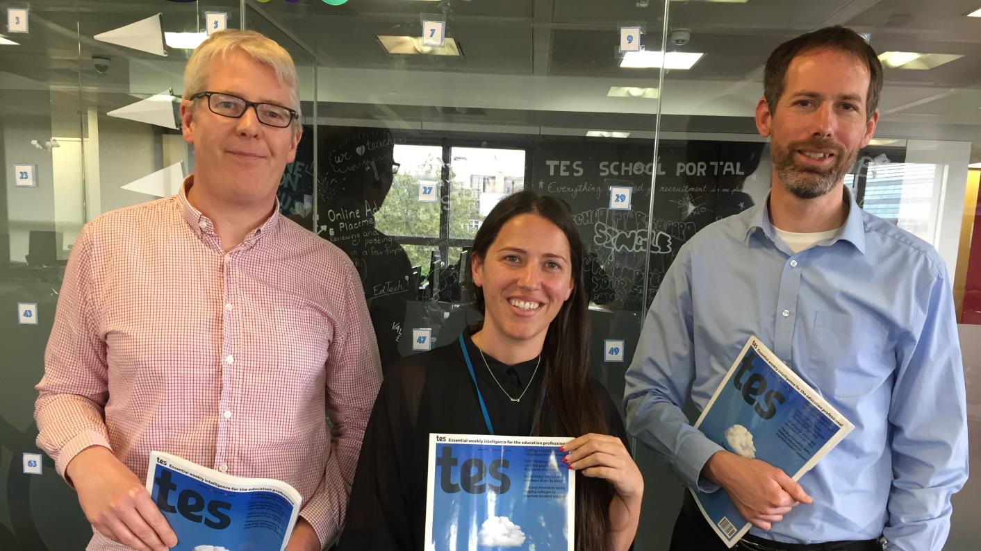 The Tes podcast: left to right, Will Stewart, Grainne Hallahan and Martin George.