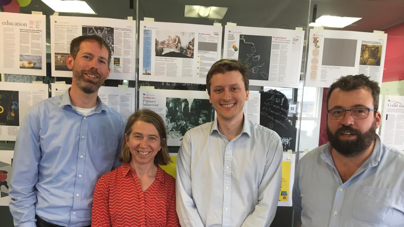 The Tes Podcast: left to right, Martin George, Helen Ward, Will Hazell and Ed Dorrell.