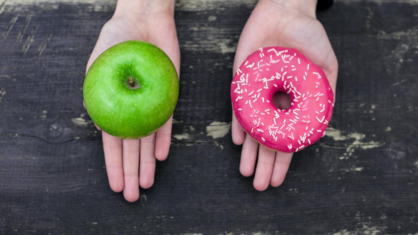 apple and doughnut, healthy schools