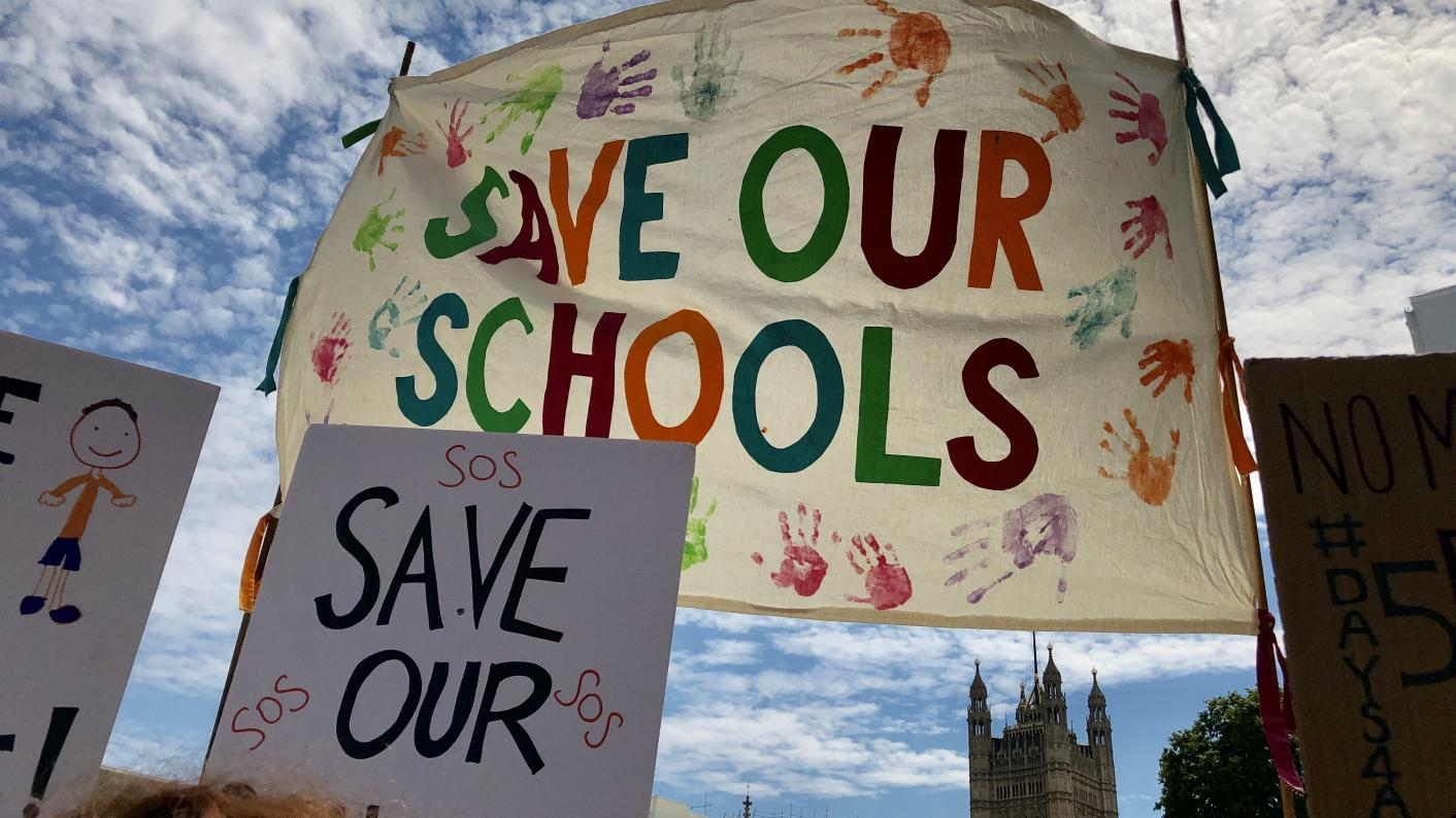 Teachers and parents have been taking part in a demonstration in Westminster over school funding cuts