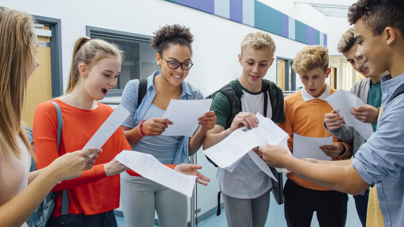 Students opening A-level results