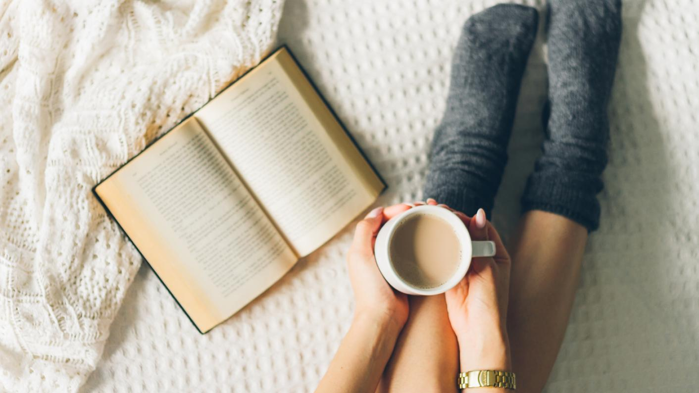 Warm socks, book and cup of tea