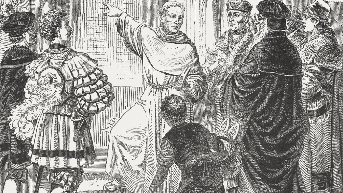 Martin Luther, nailing 95 Theses to church door
