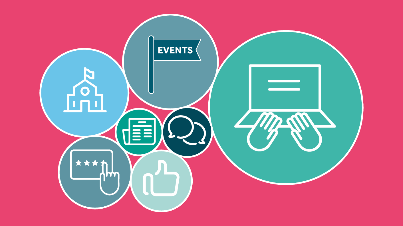 Icons showing online, face-to-face, events and other methods of research.