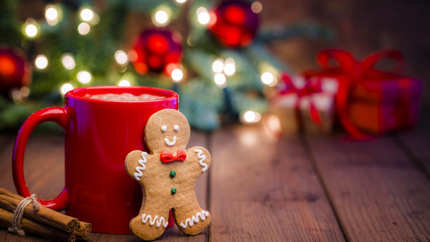 Festive scene of ginger bread person and mug of cocoa