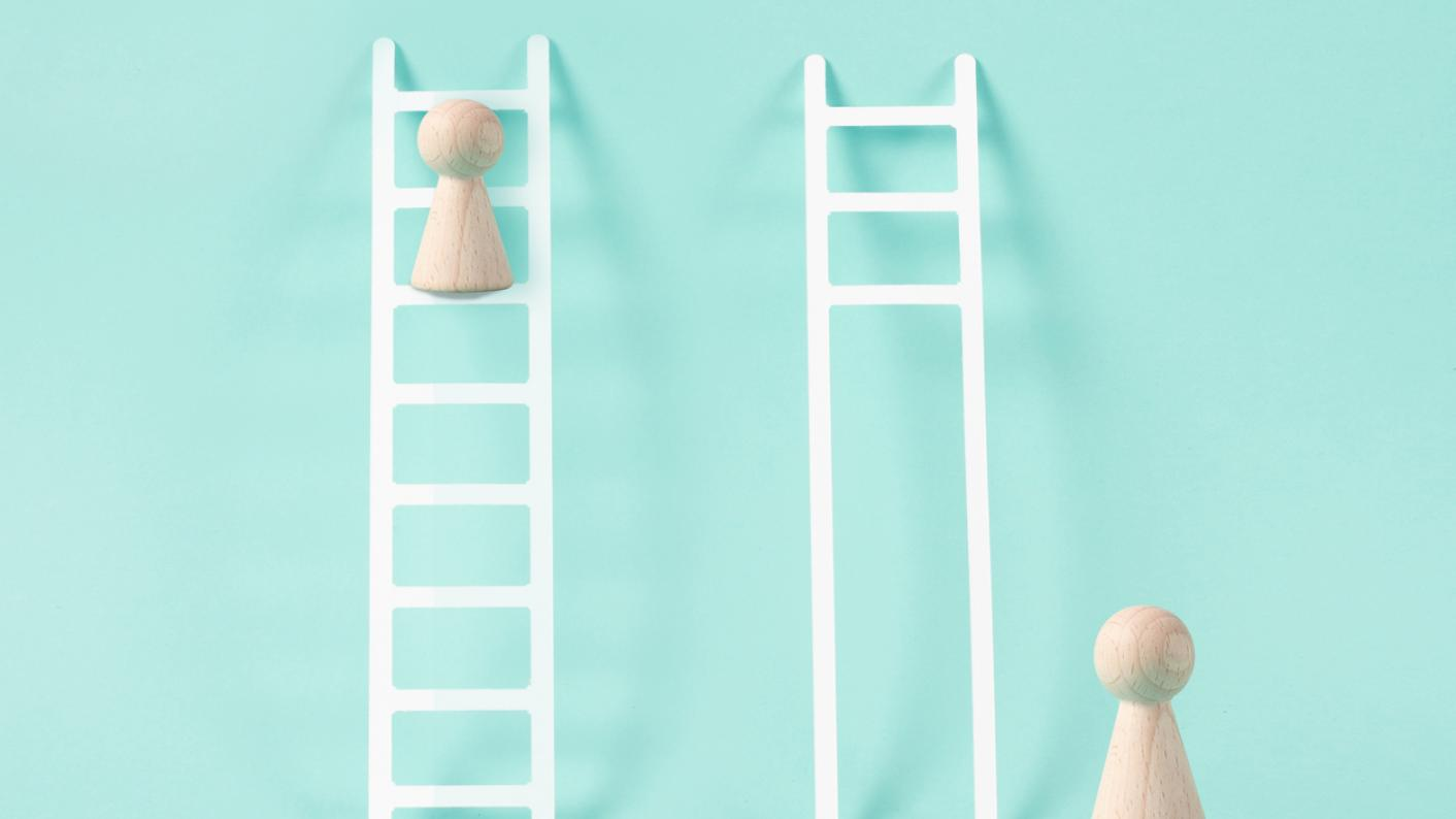 Two ladders, one missing all the lower rungs