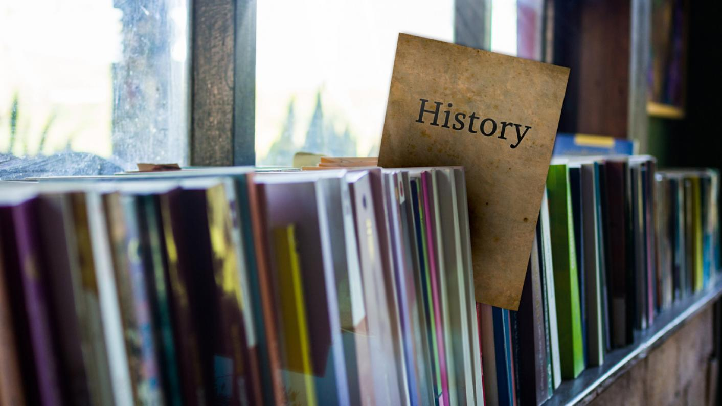 History books on shelves for History skills with secondary students