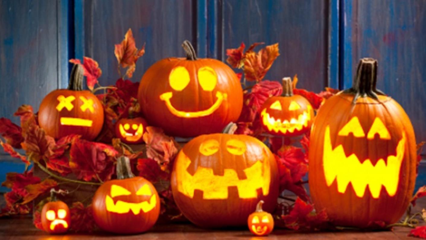 Pumpkins and Jack O'lanterns Celebrating Halloween