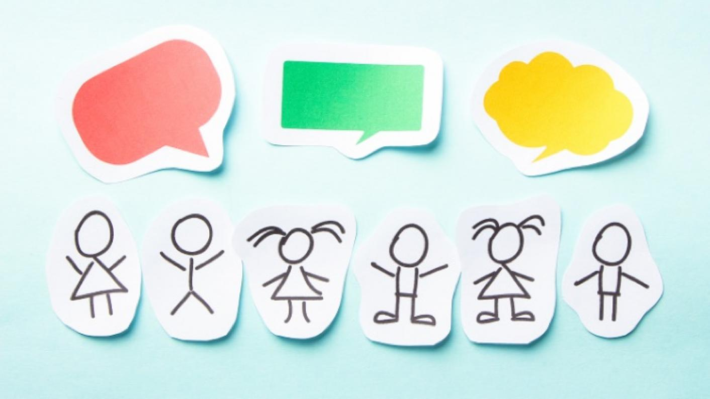Stick people with speech bubbles above their heads signifying speaking and listening