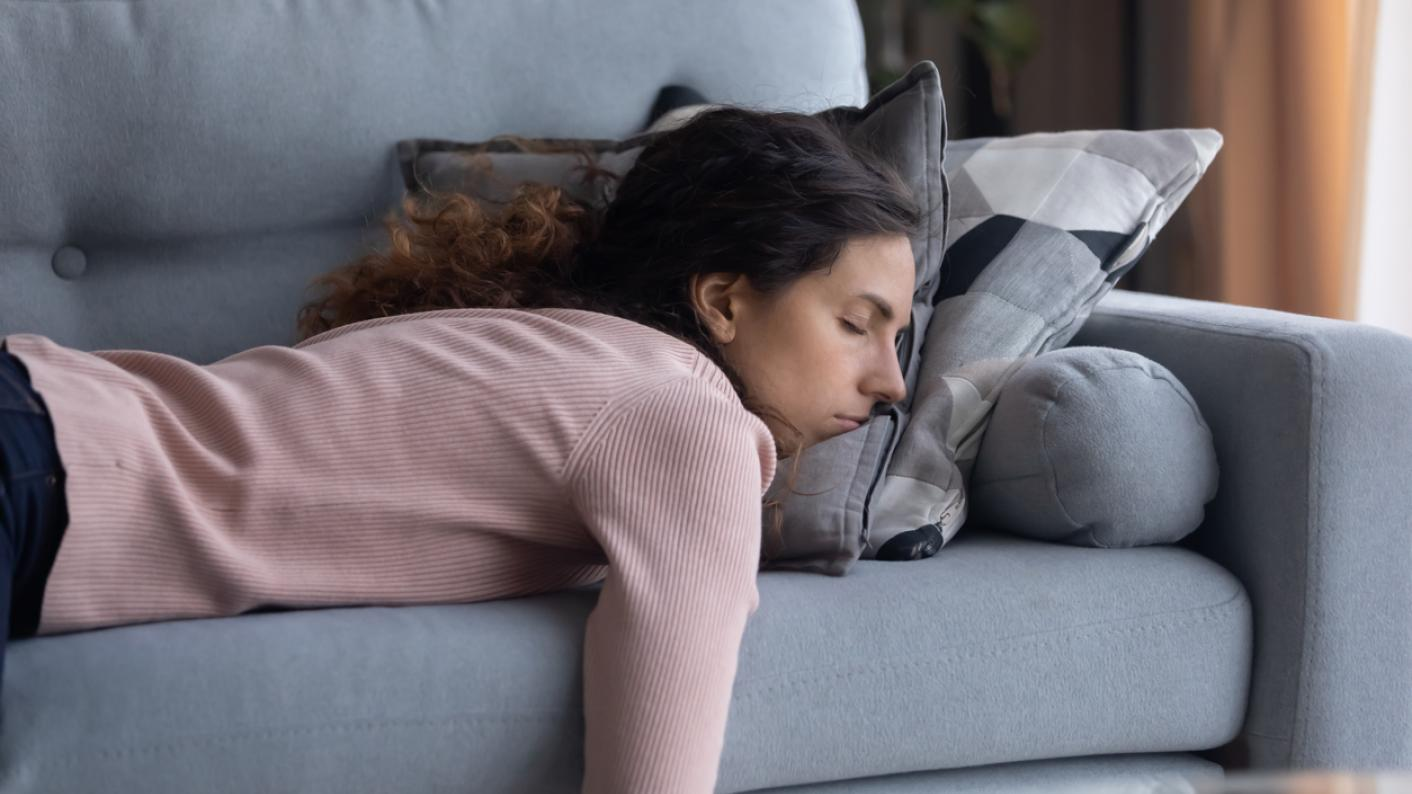 GCSE 2021 grades: Exhausted woman, flopped asleep on sofa