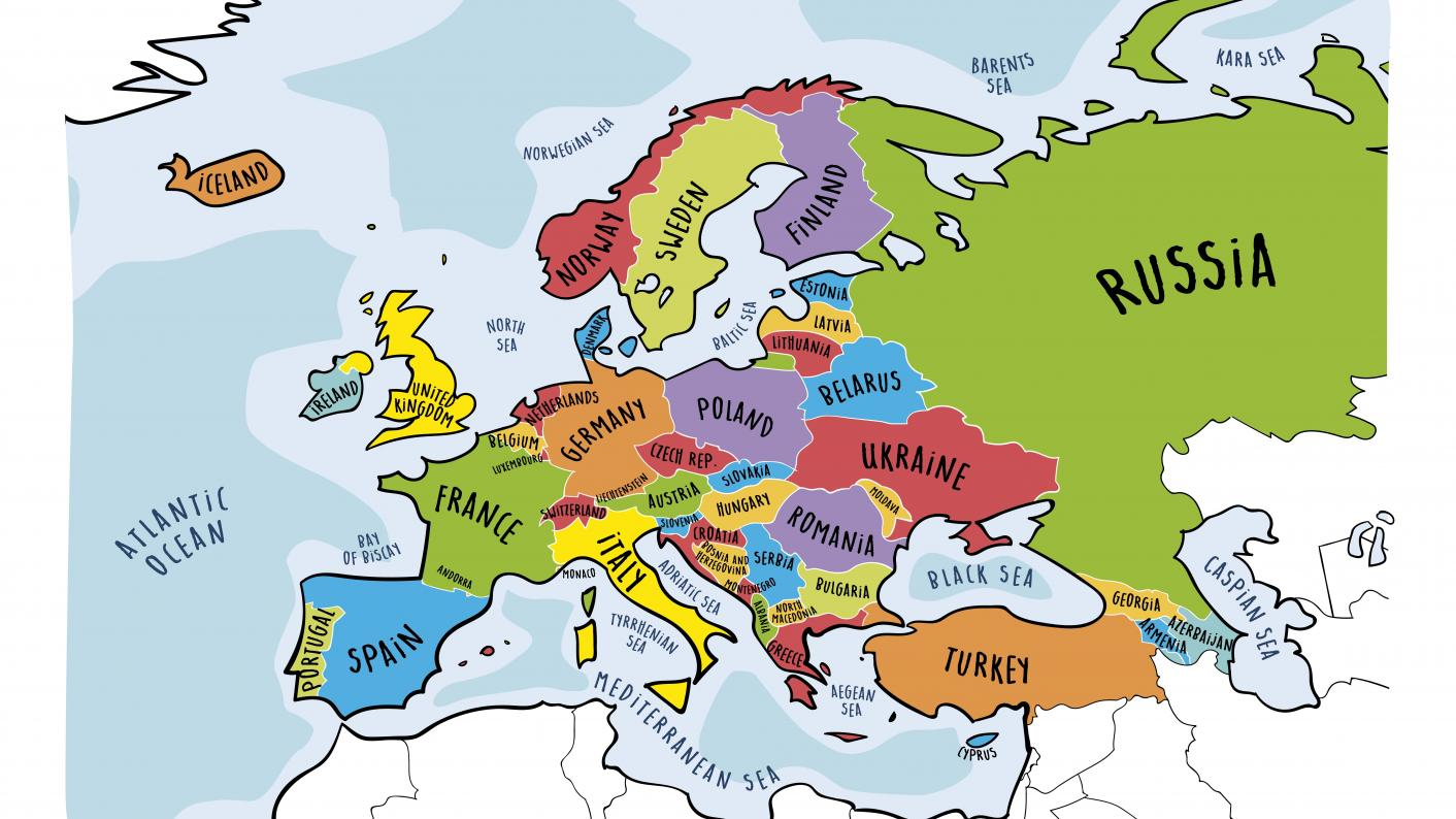 Drawn image of Europe for European Day of Languages secondary