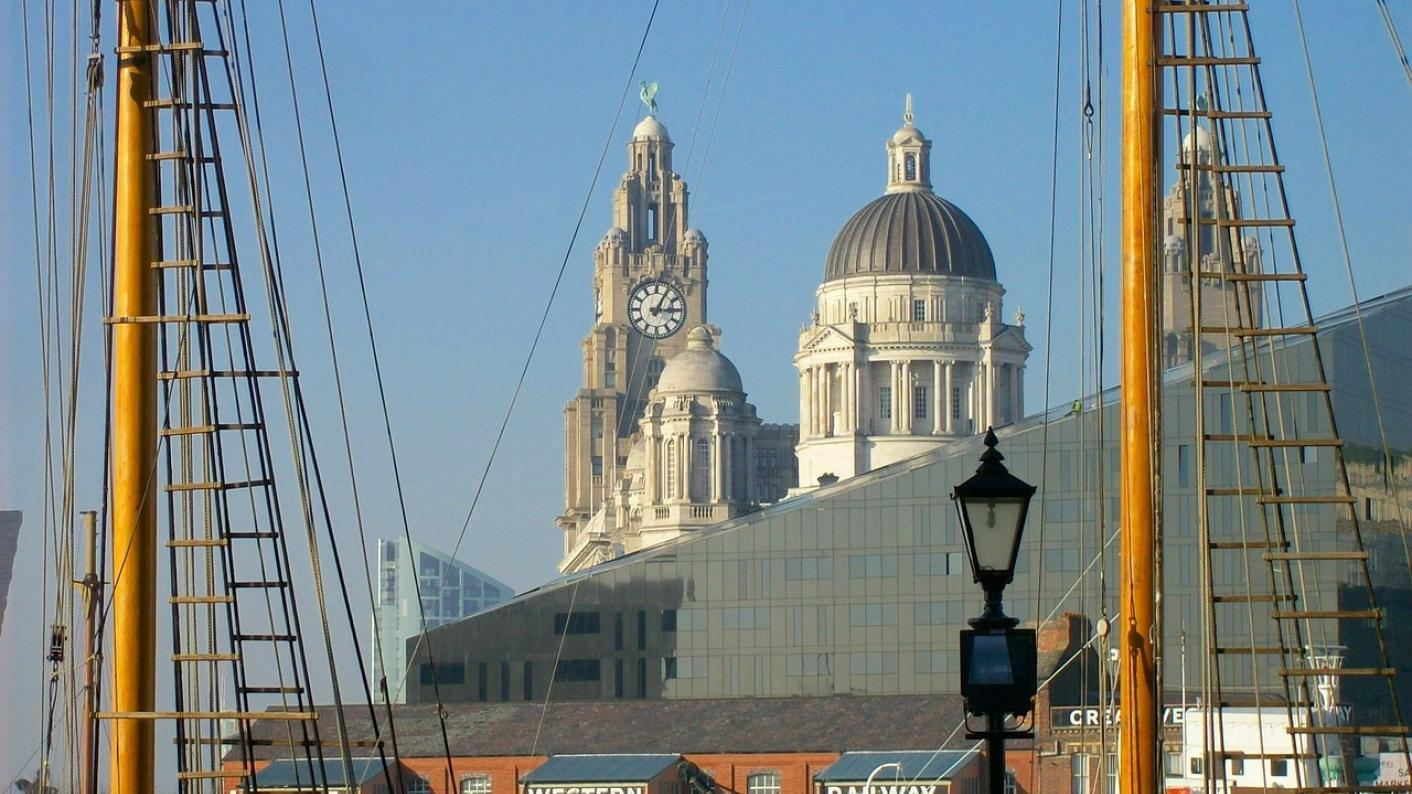 View of Liverpool cathedral from docks