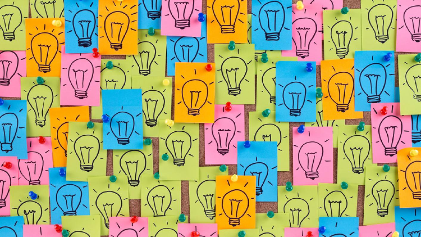 Original English displays idea resource including lightbulb image