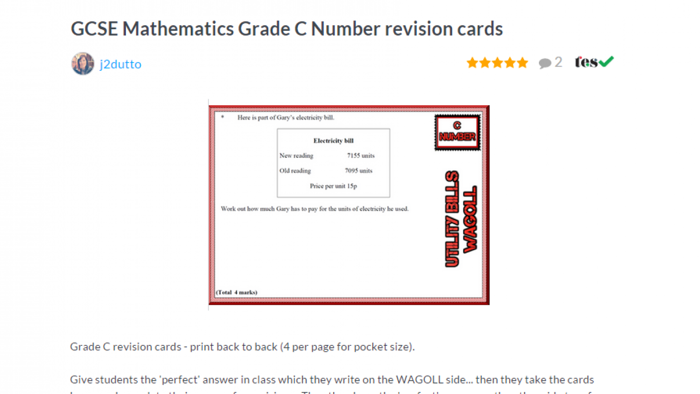 TES Maths ROTW GCSE Revision Cards