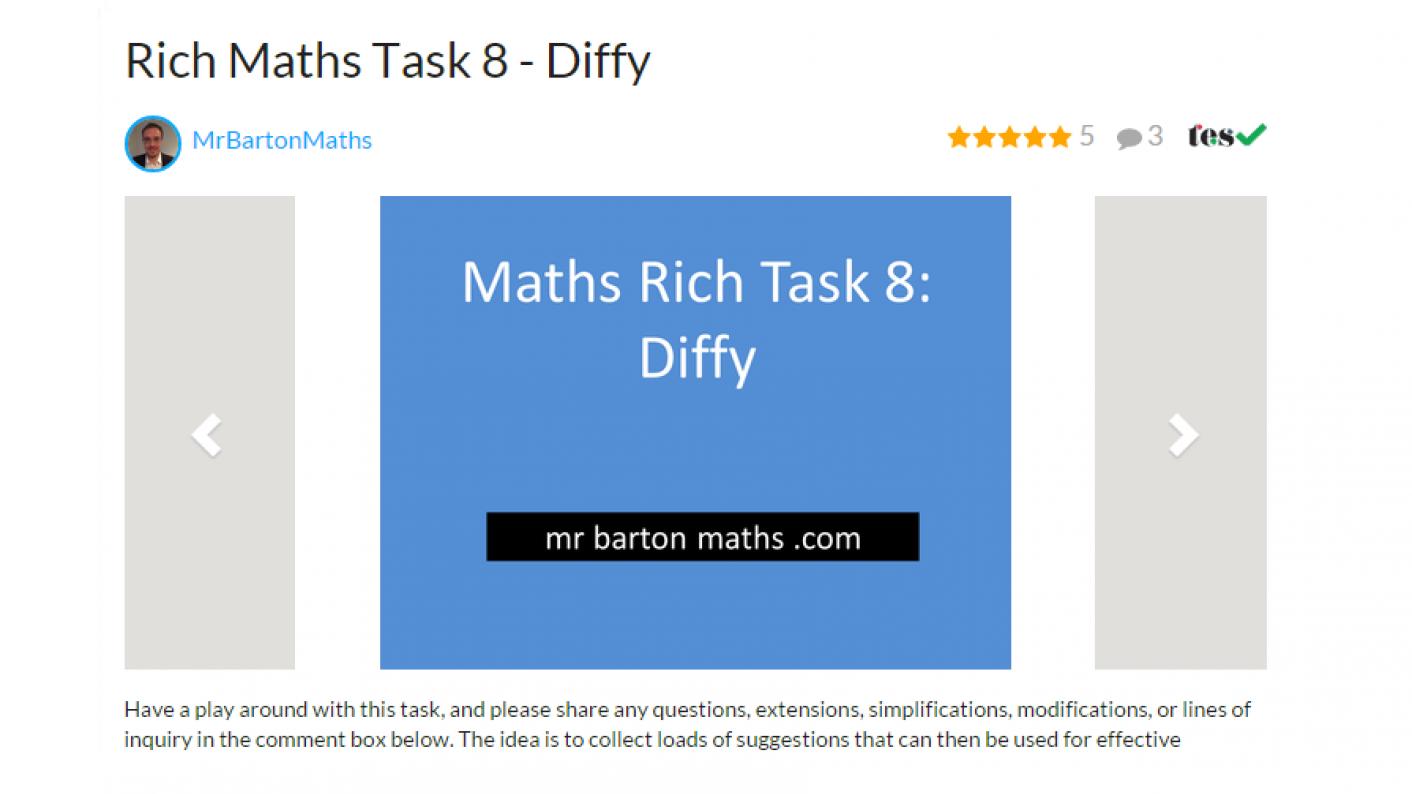 Tes Maths,maths Resources,maths,secondary Maths,diffy Rich Maths Task,ks3,ks4