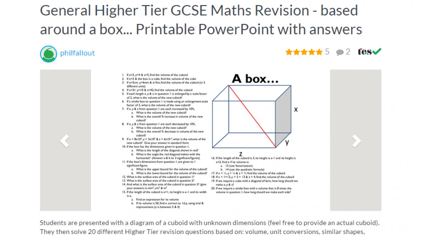 Tes Maths,maths,maths Resources,ks4,higher Gcse,gcse,box Activity