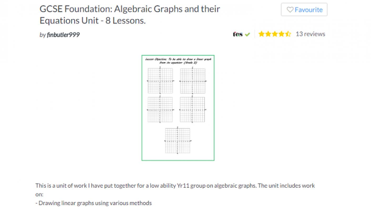 Tes Maths,maths Resources,maths,secondary Maths,ks4,gcse Foundation,graphs Algebraic Graphs