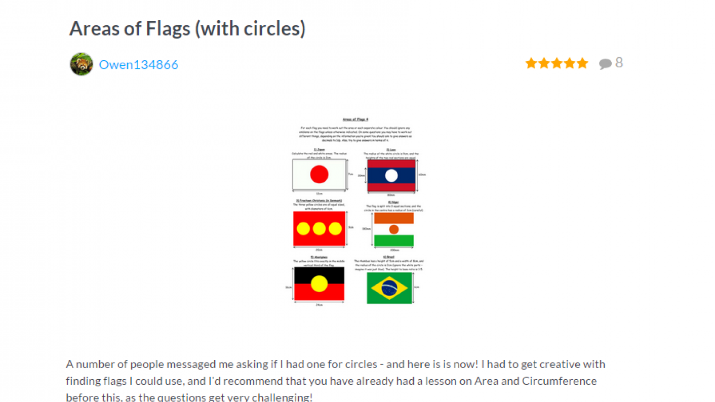 TES Maths ROTW Areas Of Flags With Circles