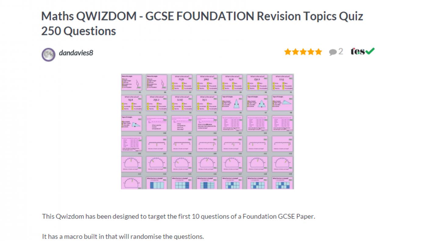 TES Maths ROTW Foundation GCSE Revision Quiz