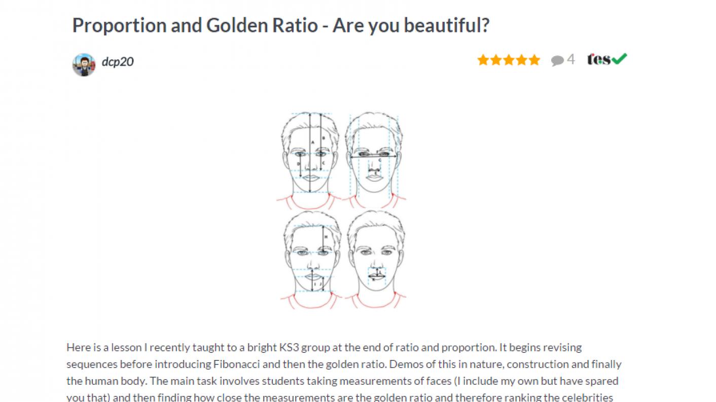 TES Maths ROTW Proportion & Golden Ratio