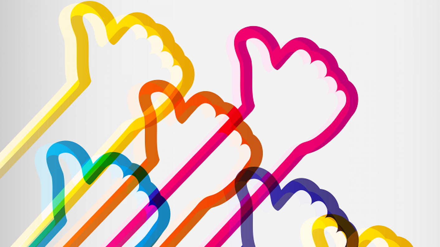 Colourful Thumbs Up Indicating Positive Peer Feedback