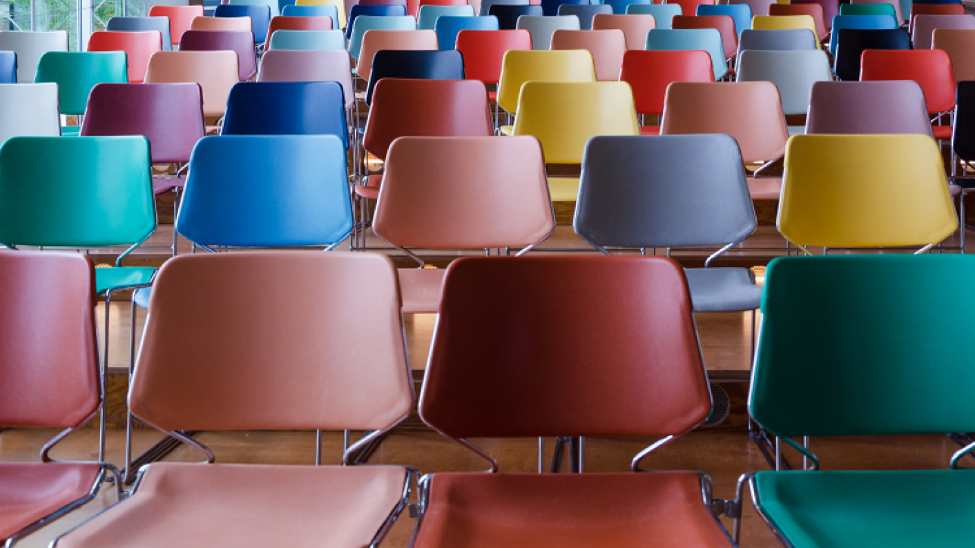 Empty School Chairs In Hall In Preparation For A School Assembly