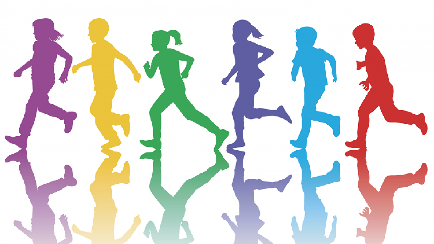 Colourful Children Running As Part Of Sport Relief 2018, Featuring Official Resources For Whole School, Primary & Secondary